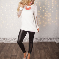Party Sequins Patch Sweater Ivory