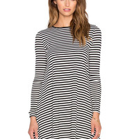 Black and White Striped Long Sleeve Knitted Mini Dress