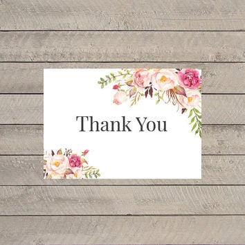 Rustic Shabby Chic Watercolor Thank You Card, Printable Thank You Card, Floral Thank You Card, Printable Floral Wedding Thank You Note