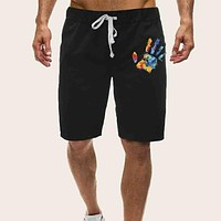 Fashion Casual Men Brush Print Drawstring Waist Shorts