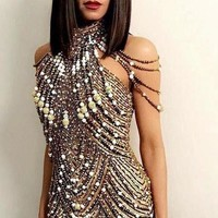 Pearl Beads Shimmer Sequined Embellished Sexy Sleeveless Mini Dress