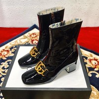 Gucci Patent Leather Ankle Boot With Double G #1610