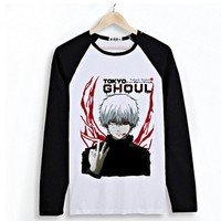 PW - Japanese Anime Tokyo Ghoul Long Sleeves Tee - Ken Kaneki (L, Black & White)
