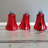 Shiny Brite Red Bell Ornament  Red Bell Glass Bell Mercury Ornament Vintage Christmas Tree Ornaments Shiny Brite Ornaments Mercury Glass