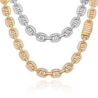 15mm Miami Cuban link Chain Iced Out Necklaces Men Hip Hop Jewelry Copper 2 Row Baguette Bling For Gold Color Necklace Gift  - jewelry fall 2021