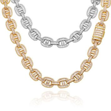 15mm Miami Cuban link Chain Iced Out Necklaces Men Hip Hop Jewelry Copper 2 Row Baguette Bling For Gold Color Necklace Gift