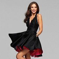Short Little Black Cocktail Party Dresses Halter Neck Backless Homecoming Dresses Satin Two Tone Prom Graduation Dresses