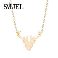 Delicate Deer Head Shaped Animal Charm Necklaces for  Antler Animal Jewelry Christmas N133