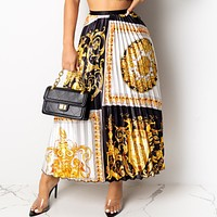 Versace Hot Fashion Print Contrasting Women's Sexy Pleated Skirt