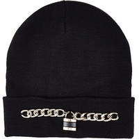 River Island Womens Black chain padlock beanie hat