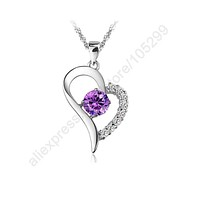 "Purple Stone Superior Heart Necklaces & Pendants 925 Sterling Silver Cubic Zirconoa Jewelry Necklace With 18"" Chains"