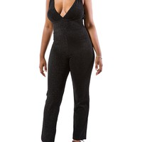 Casual Spaghetti Strap Sexy Backless Plain Slim-Leg Jumpsuit