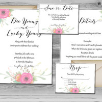 Floral Wedding Invitation - Wedding Invites - Printable Wedding Invitations - Spring Wedding Invite - Boho Wedding