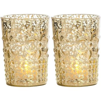 Vintage Mercury Glass Candle Holders (4-Inch, Fleur Design, Flower Motif, Gold, Set of 2) - For Home Decor, Party Decorations, and Wedding Centerpieces