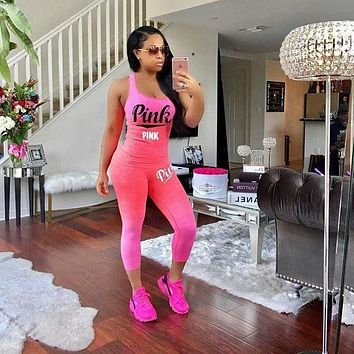 Victoria's Secret PINK Women Tracksuit Summer Two Pieces Outfits Sportswear T Shirt
