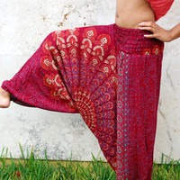 100 Organic Cotton Vibrant Maroon Harem Pants with by BellyBeads