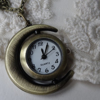 1- Vintage Gold Sun and Moon Pocket Watch Necklace Spinning Face Celestial Open Watch Pendant