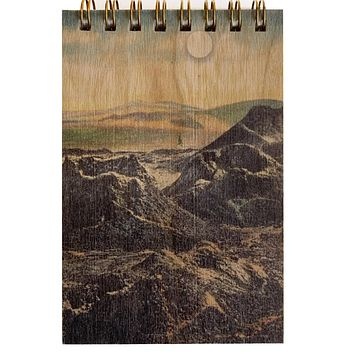 Wood Notepad Desert Mountains