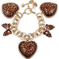 Betsey Johnson Bracelet, Gold-Tone Leopard Heart and Bow Charm Toggle Bracelet - All Fashion Jewelry - Jewelry & Watches - Macy's