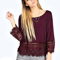 Burgundy Crochet Lace Trim Swing Top