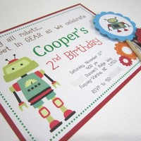 Robot Invitation for Birthday Baby Shower Printed and Personalized