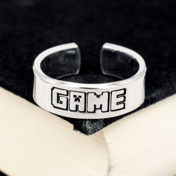 Game Ring - Video Game Jewelry - Adjustable Aluminum Cuff Ring