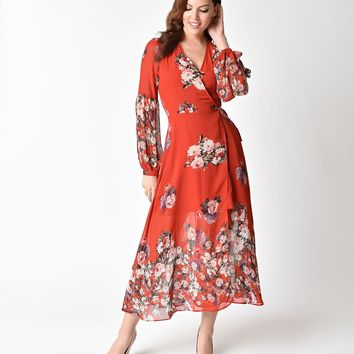 1970s Style Red Floral Long Sleeved Leilana Midi Wrap Dress
