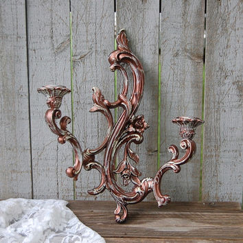 Shabby chic candle sconce