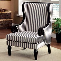 Riviera Transitional Wing Accent Chair With Line Fabric, Black Leg Finish By Casagear Home