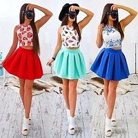 Fashion Print Sleeveless Crop Tops Pleated Short Skirt Set Two-Piece