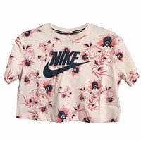 Nike Stylish Women Summer Flower Letter Print Short Sleeve T-Shirt Top