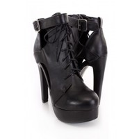 Black Lace Up Ankle booties faux Leather
