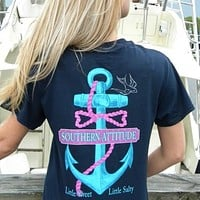 Country Life Outfitters Southern Attitude Anchor Bow Navy Vintage Girlie Bright T Shirt