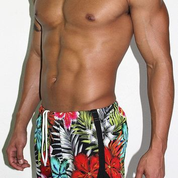 Tropical Athletic Shorts- Black