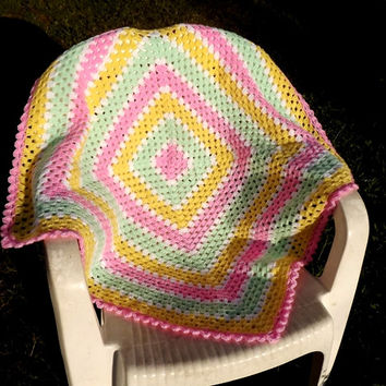 Hand crochet girl's baby blanket granny square - white with pink yellow and apple green stripes