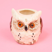 Vintage Angry Owl Candle Holder Kitsch Hipster