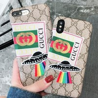 Gucci Iphone X mobile phone shell iPhone7 8plus protector 6S embroidery UFO luxury 6plus