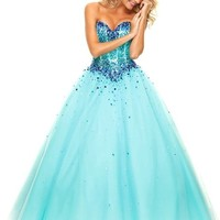 KissBridal Sweetheart Floor Length Tulle Ball Gown Prom Dress Evening Gown