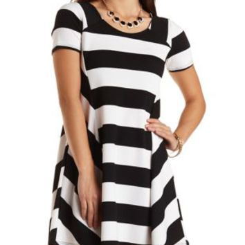 Black/White Short Sleeve Striped Swing Dress by Charlotte Russe