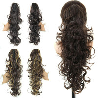 """Multi Colors Heat Resistant 20"""" Synthetic Long Ponytail Curly Claw  in Ponytail Ribbon Pony Tail Hair Extension Hairpiece"""