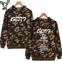BTS Got7 K-pop Hooded Hoodies Women/Men Winter Autumn Camouflage Sleeve Letters Sweatshirt Women Hoodies Hip Hop Clothes