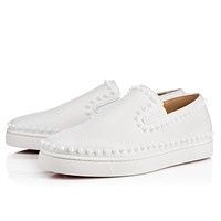 Christian Louboutin Cl Pik Boat Mens Flat White/white Leather 11s Sneakers