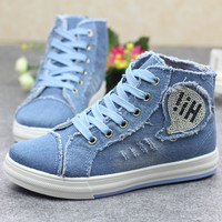 2017 new women's shoes Korean version of the Korean cowboy shoes canvas shoes