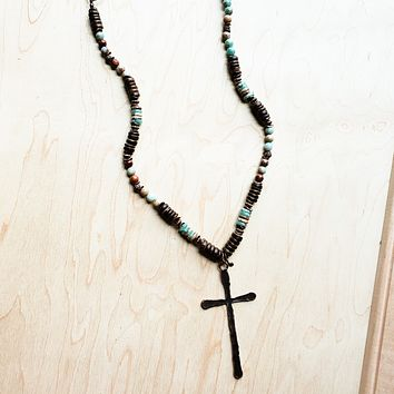 Aqua Terra Wood Necklace with Copper Cross