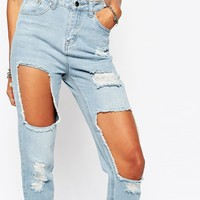 Missguided Distressed Exposed Knee Jeans