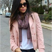 Trendy Clothing, Fashion Shoes, Women Accessories   Pink Double Breasted Jacket    LoveShoppingMiami.com