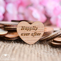 """100 Happily Ever After Wood Hearts 1"""" - Rustic Wedding Decor - Table Confetti - Wooden Hearts - Wedding Invitations"""