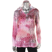 Style & Co. Womens Burnout Hooded Pullover Top
