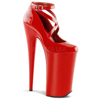 Beyond-087 Red Criss Cross Platform Pump By Pleaser Shoes