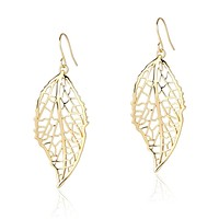 Long Leaf Pendant Dangle Necklace and Earring